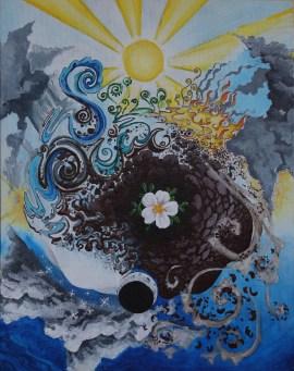 Cycles - elements; acrylic on canvas; 11 x 14