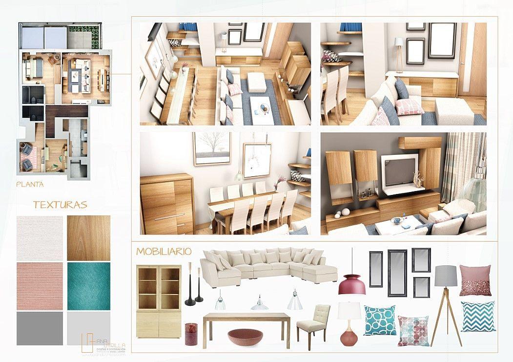 Proyecto decoración de interiores vivienda en Madrid salón comedor