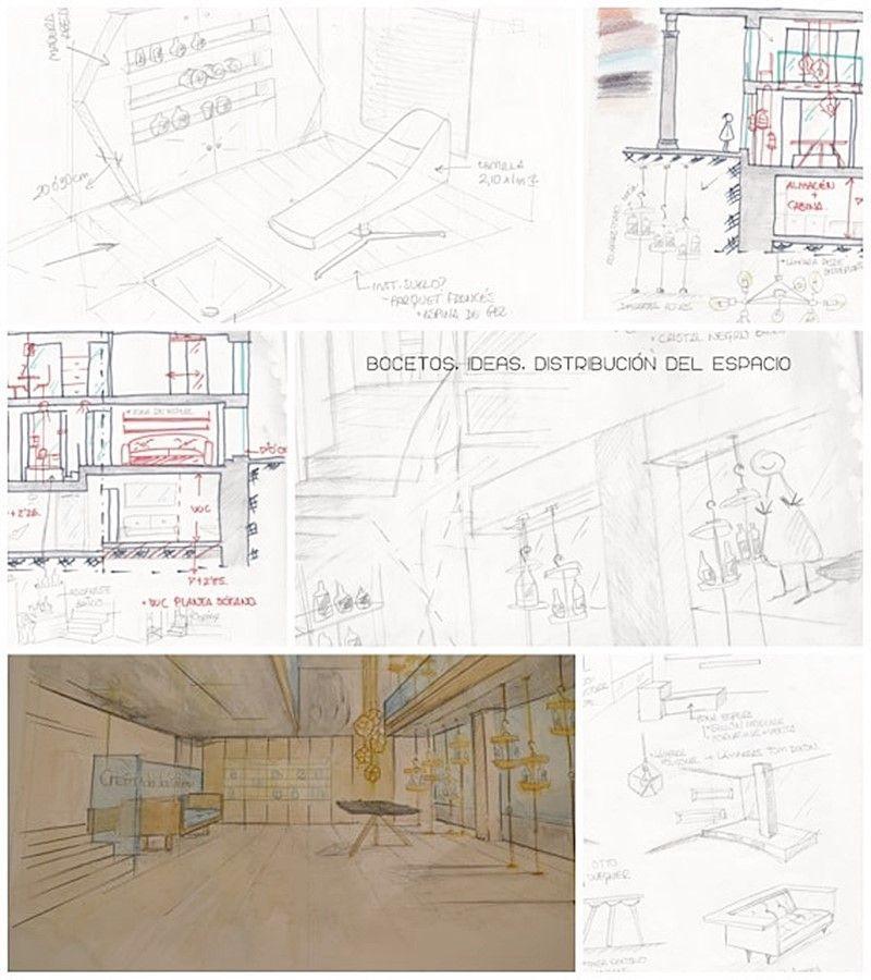 Bocetos y tormenta de ideas para proyecto de diseño de interiores por Ana Utrilla
