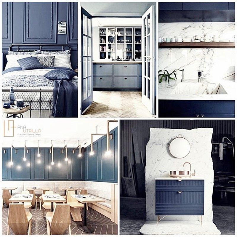 Decoración de interiores en azul petróleo y estilo ecléctico elegante