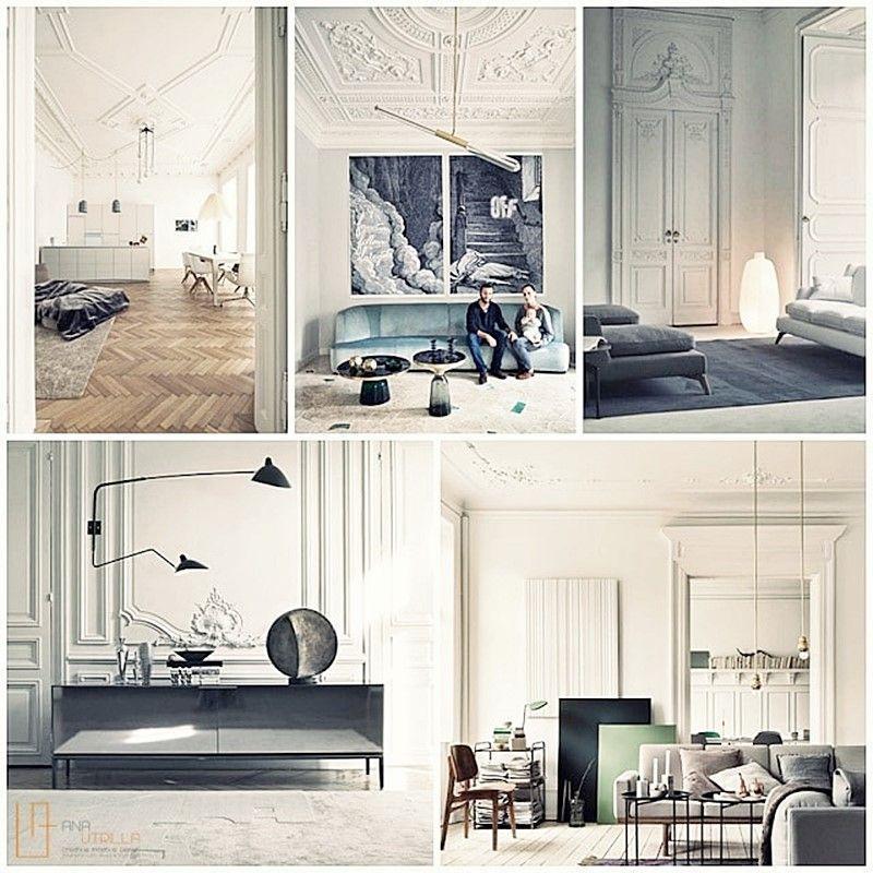 Decoración de interiores de estilo ecléctico elegante francés como salones y habitaciones o despachos