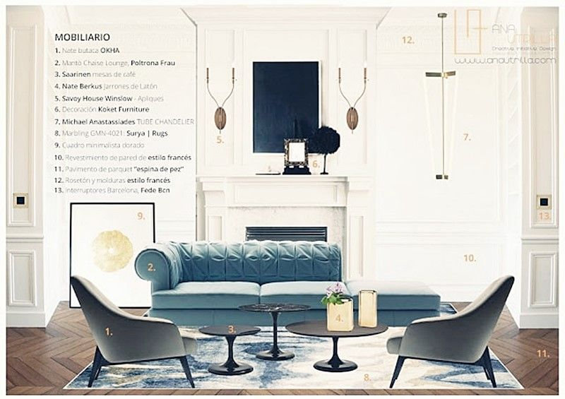 Proyecto interiorismo en estilo ecléctico elegante francés por Ana Utrilla