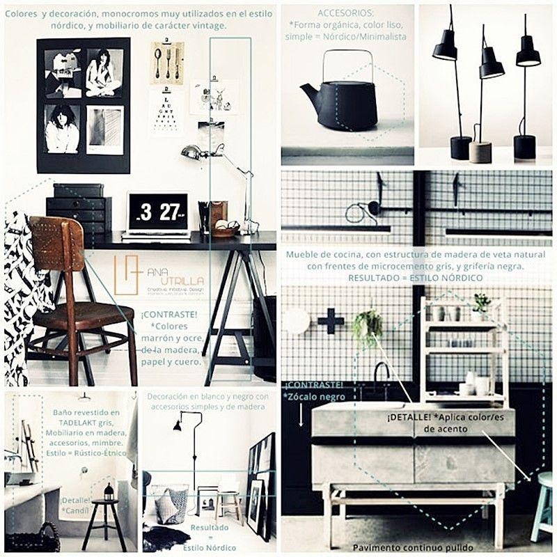 Decoración de interiores en combinación bicromía de blanco y negro de estilo nórdico rústico o vintage
