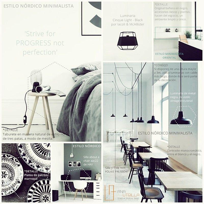 Estilo minimalista tendencia en decoración de interiores en blanco y negro