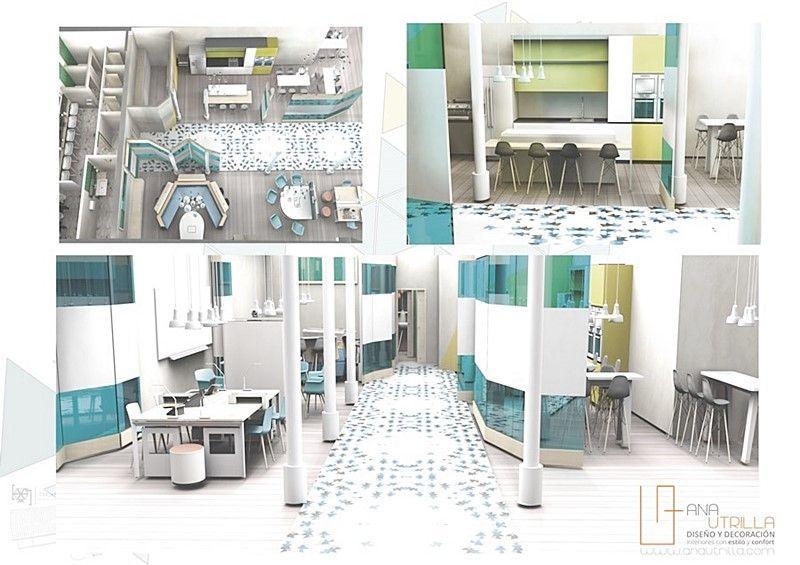 Renderizado de espacio coworking diseño de interiores de Ana Utrilla