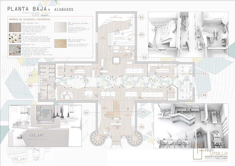 Interiorismo comercial de oficinas Coworking en Valladolid por Ana Utrilla