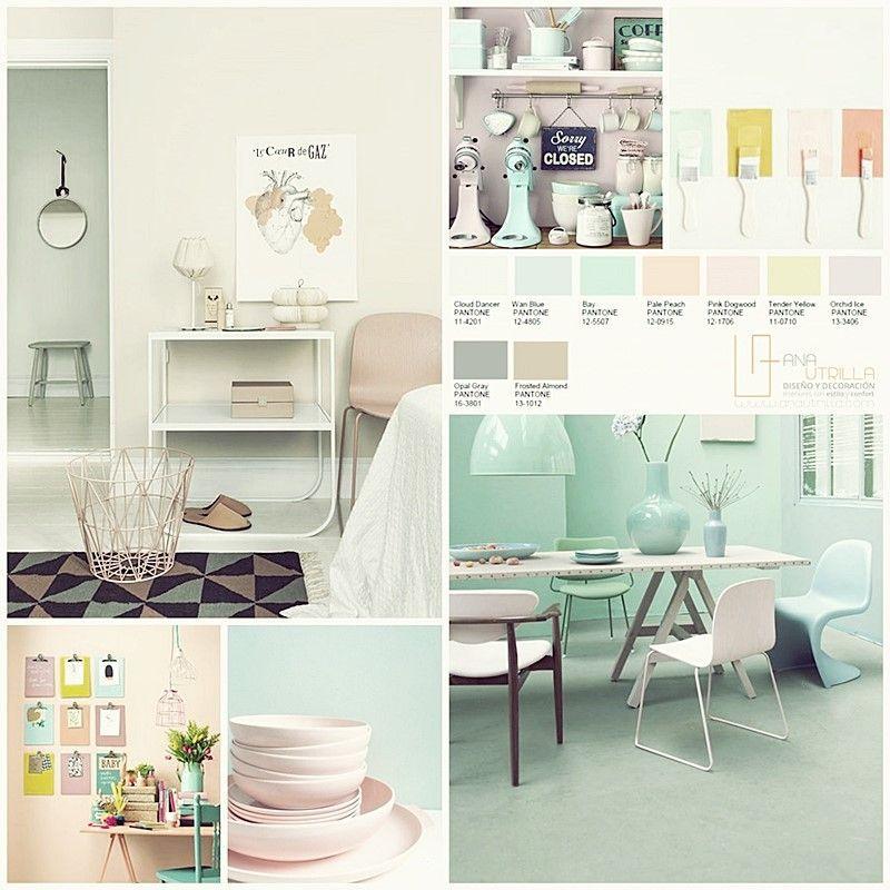 Colores suaves, pastel guía pantone 2016 en decoración de interiores