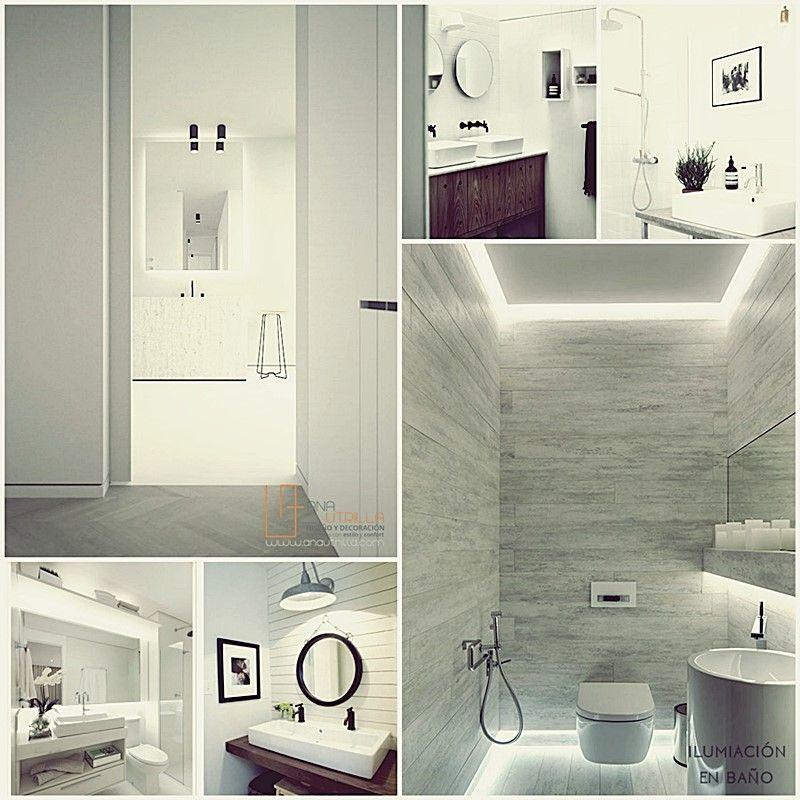 Iluminación adecuada para espacios de aseo y baño por Ana Utrilla Diseño de Interiores ONline