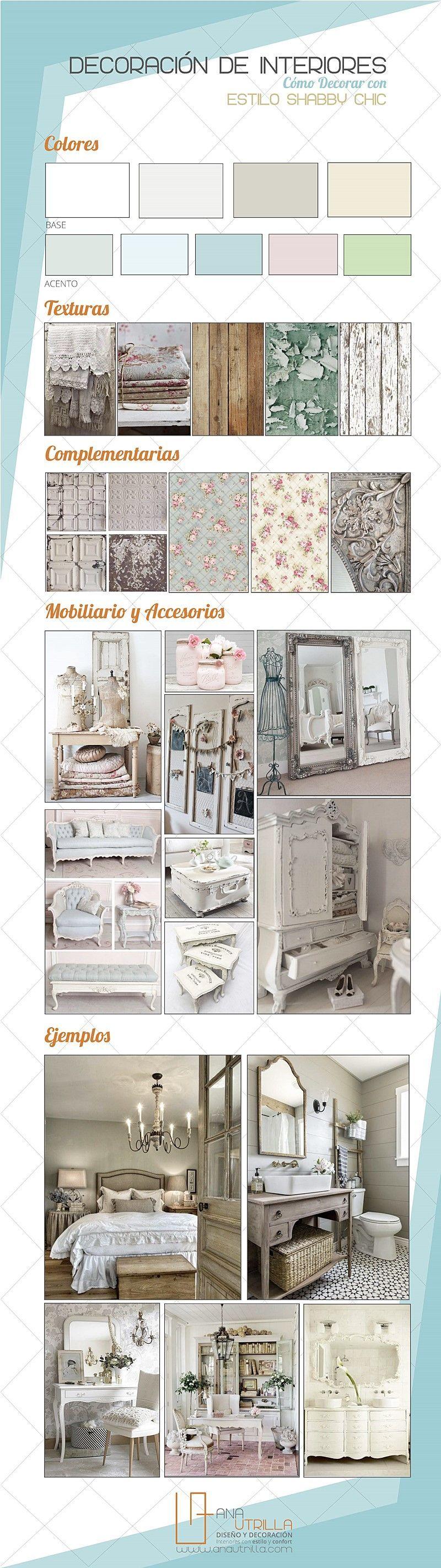 Infografía de cómo decorar con estilo shabby chic cualquier espacio de casa por Ana Utrilla Diseño de Interiores Online