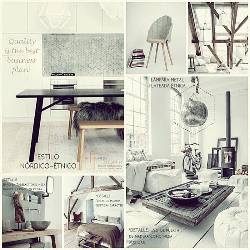 Decoración de interiores en tonos claros y de estilo étnico, rústico o nórdico por Ana Utrilla Diseño de Interiores Online