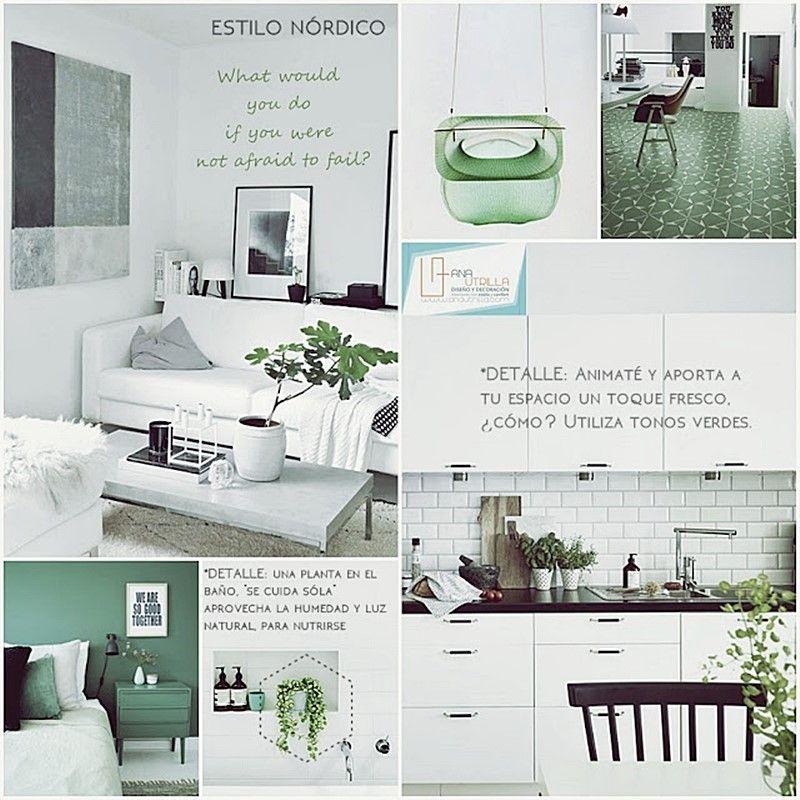 Color verde para tu decoración de interiores junto a colores claros por Ana Utrilla Diseño de Interiores Online