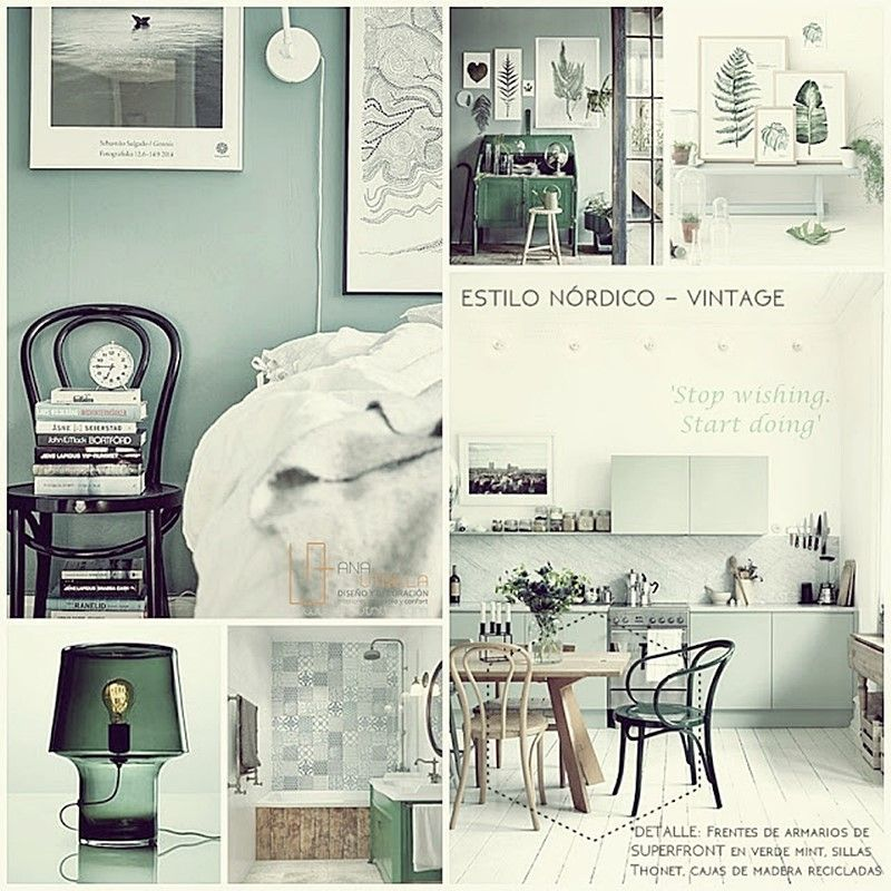 Decoración de interiores verde mint por Ana Utrilla Diseño de Interiores Online