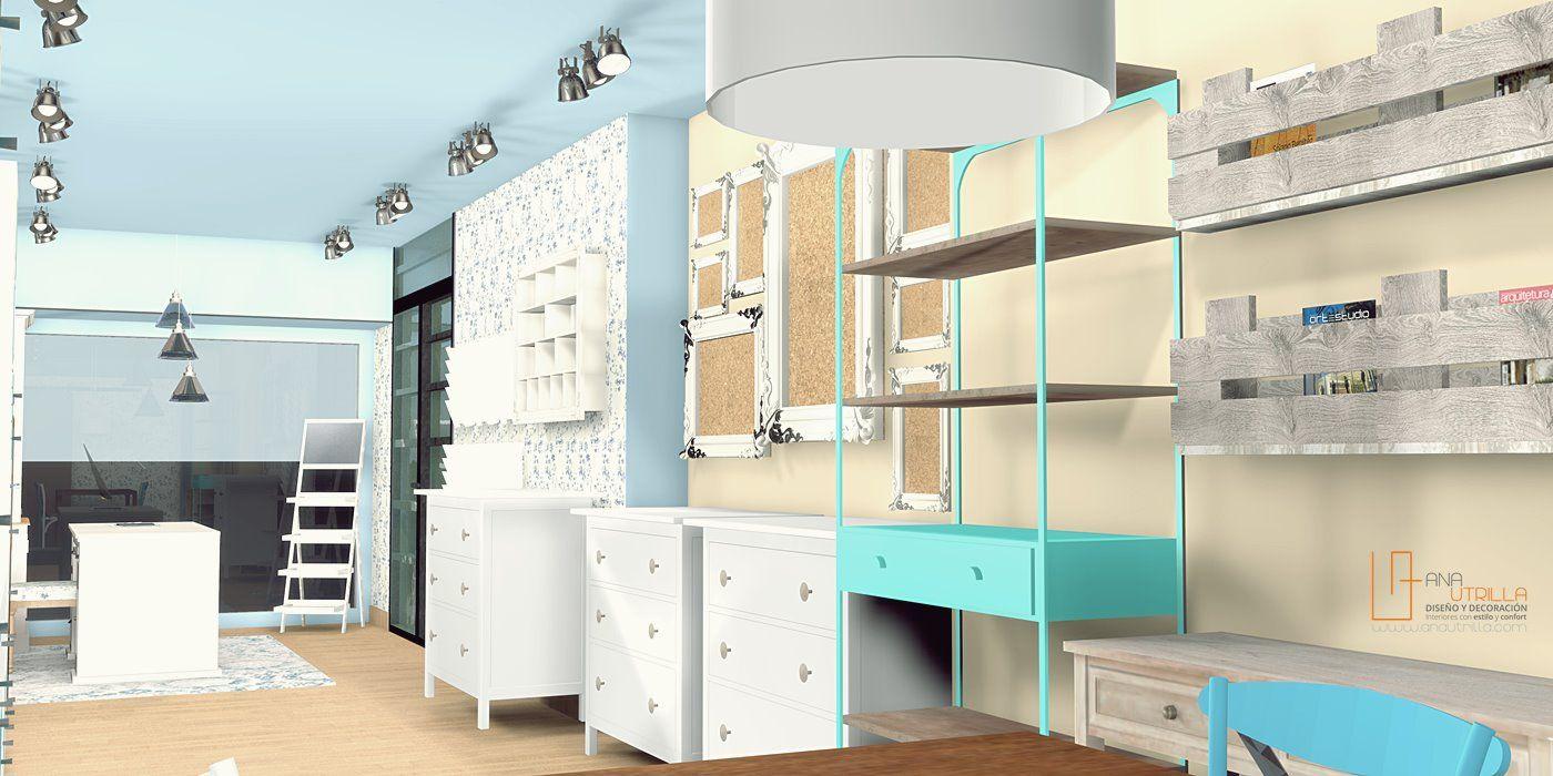 Perspectiva de tienda de scrapbooking en 3D por Ana Utrilla