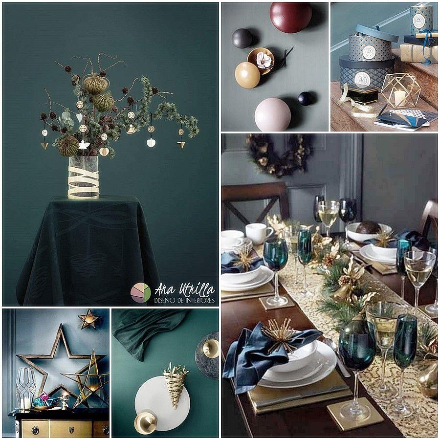 Opulent Christmas tendencias navidad 2017 decoración en tonos oscuros en contraste con colores metálicos