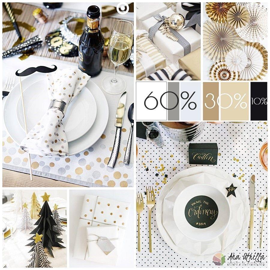 Decoración e ideas para mesas de Navidad en blanco , negro y dorado