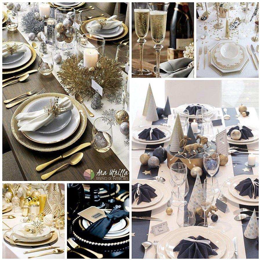 Decoración de mesa para Nochevieja elegante y opulenta
