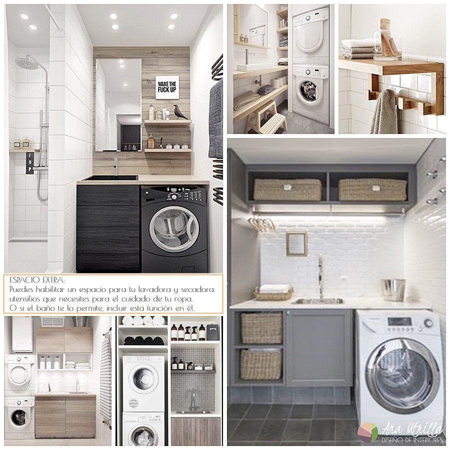Espacio de lavandería en el baño, decoración funcional y práctica
