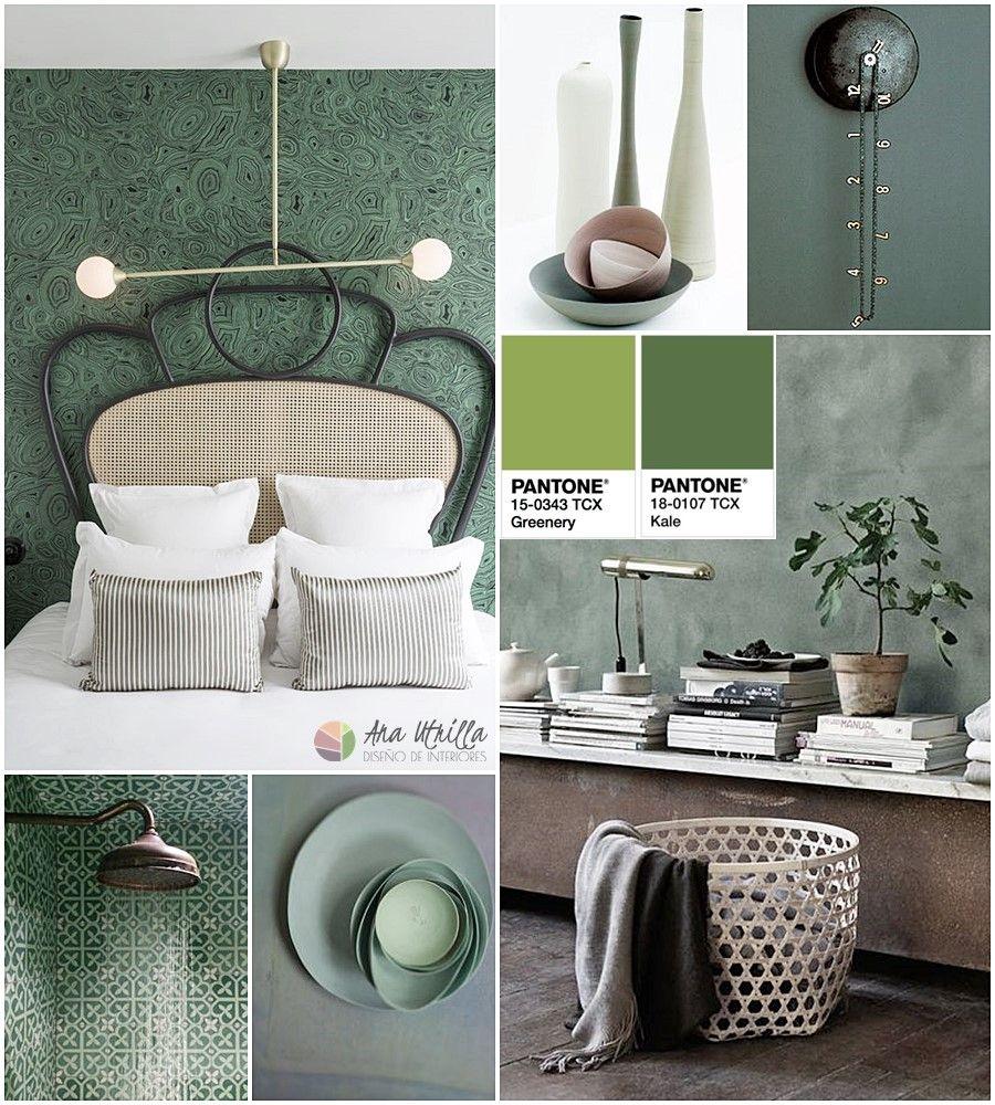 Decoración de interiores en tonos verde kale y greenery por Ana Utrilla