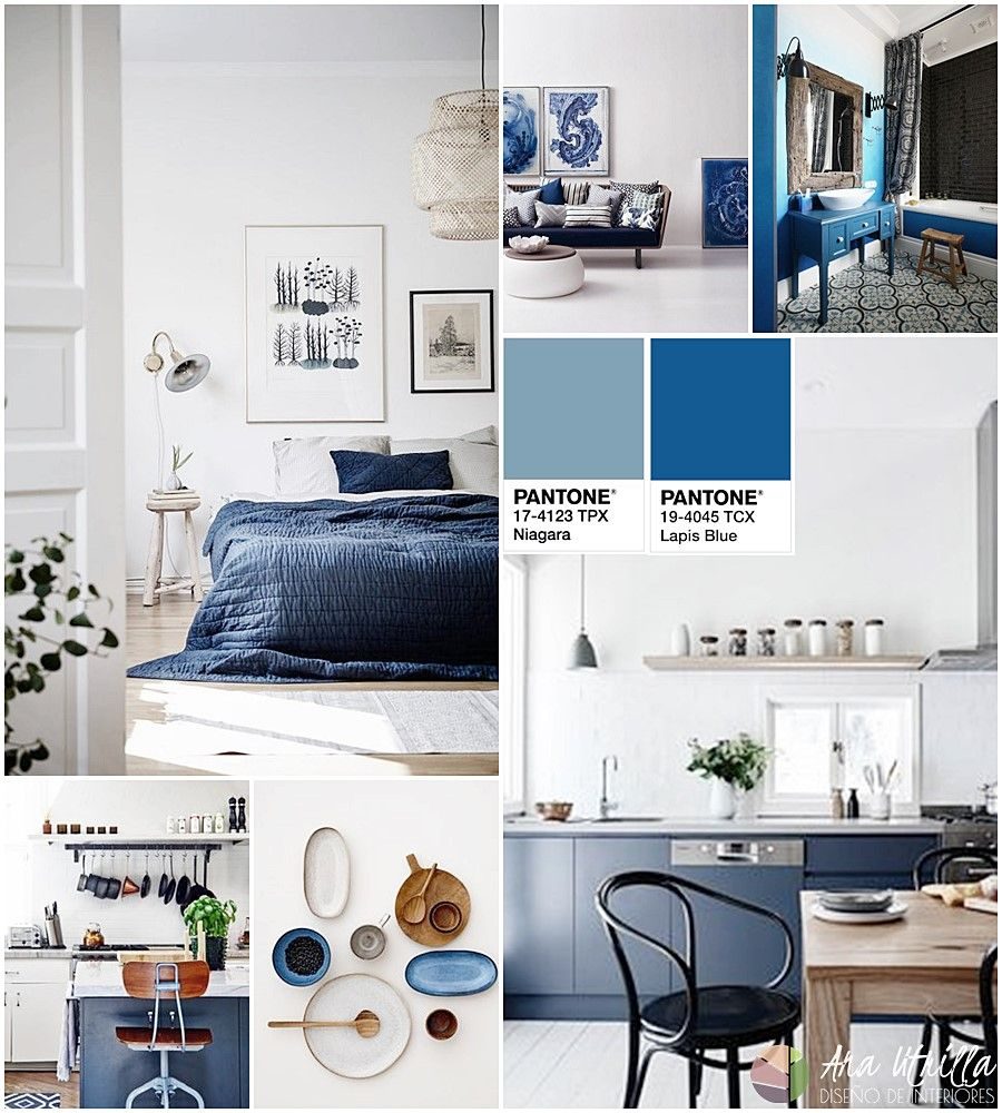 Decoración de interiores en colores azul niágara y azul lapis