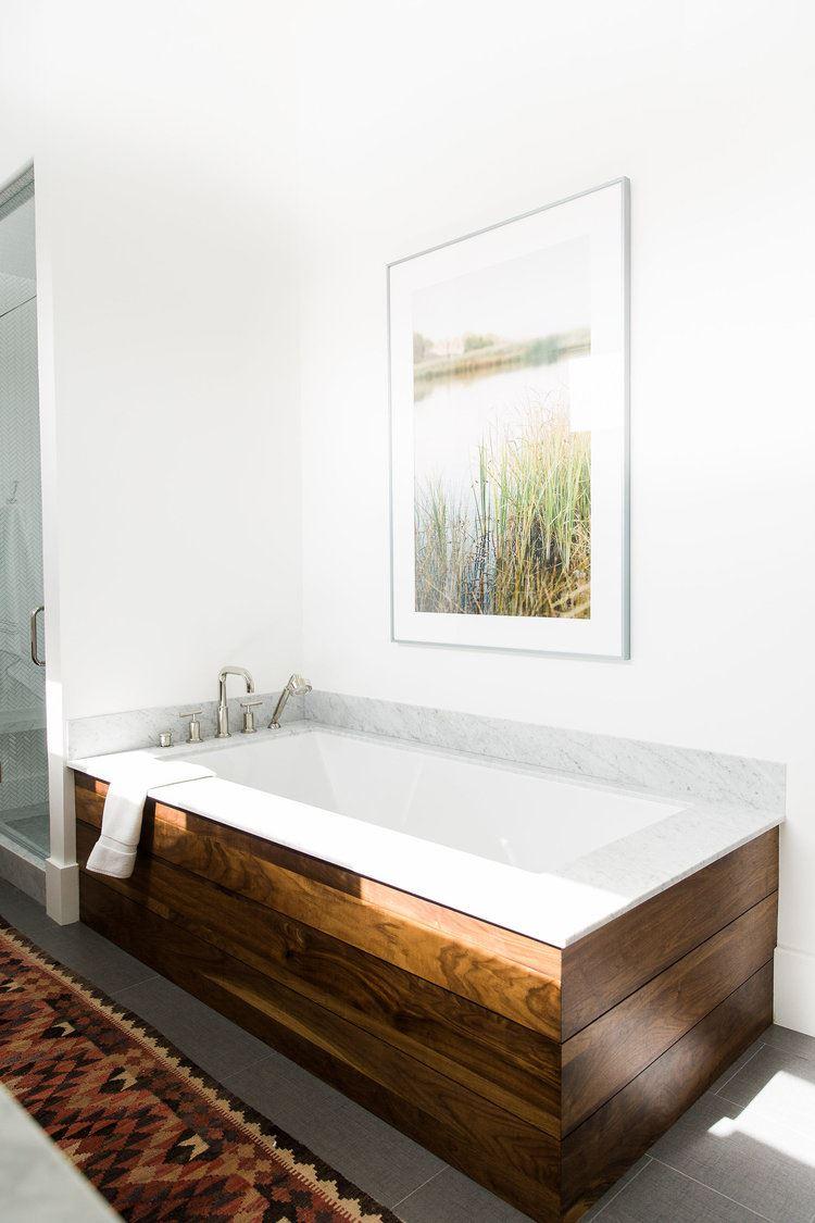Bañera de estilo rústico industrial Chic, en madera