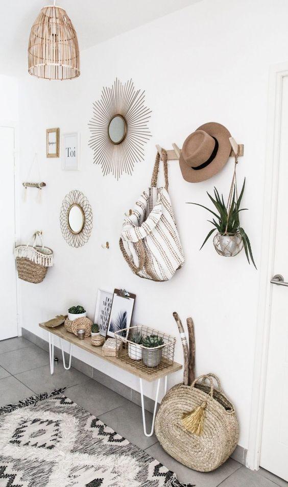 Decoración de interiores de estilo boho chic, para la entrada de una casa