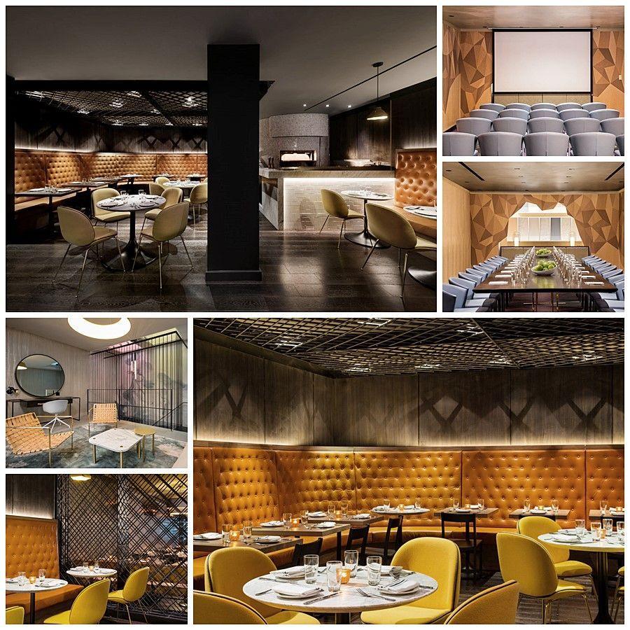 Restaurante, sala privada de cine, comedor y habitación del hotel The Time New York