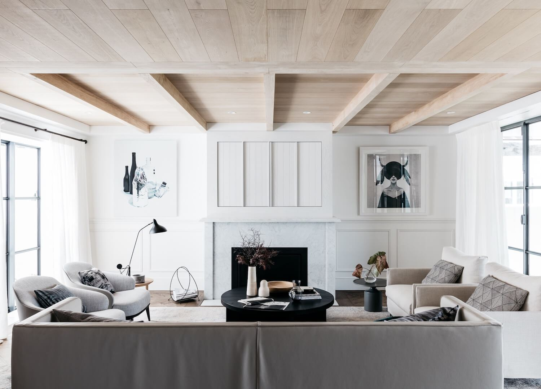 Decoración de interiores de salón de estilo francés elegante minimalista