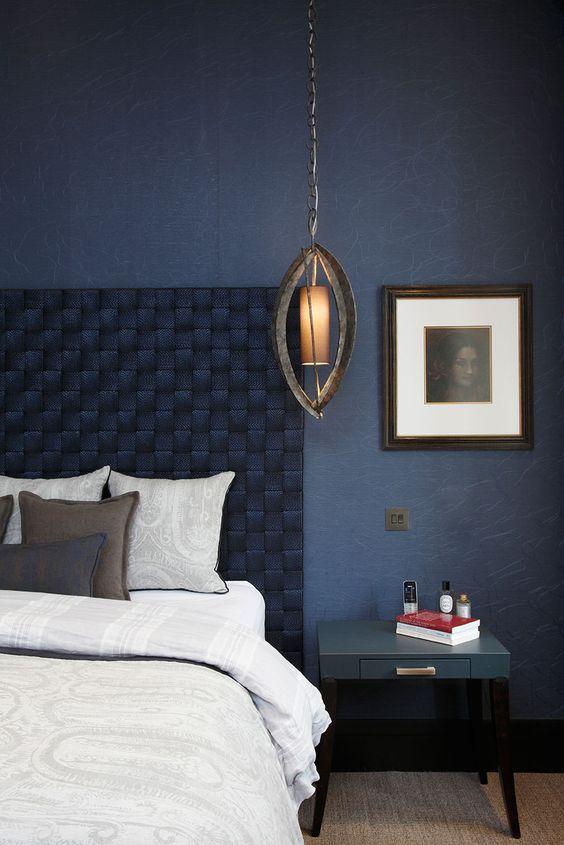 Dormitorio Azul oscuro, estilo clásico moderno