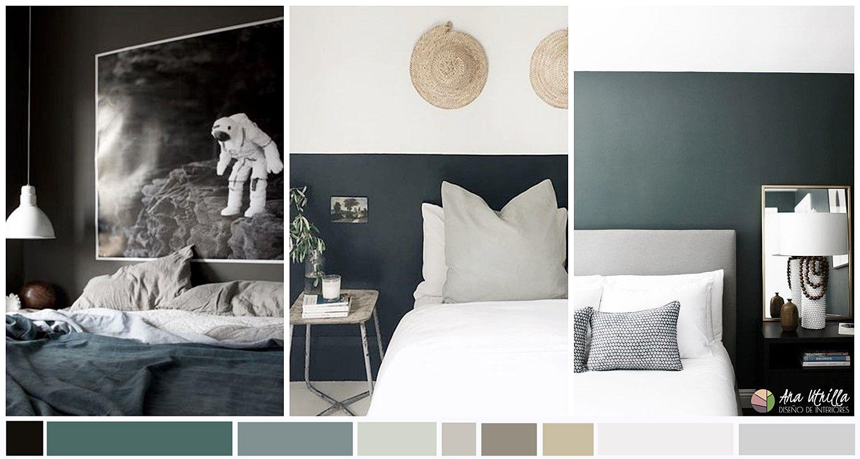 Dormitorio de color verde oscuro, estilo contemporáneo, minimalista