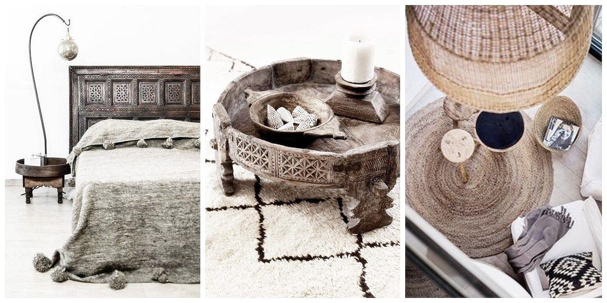 Decoración de interiores de estilo Escandinavo Étnico mobiliario, accesorios textiles