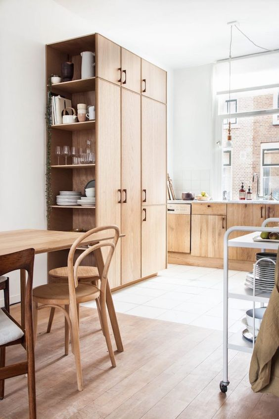 Cocina de madera estilo nórdico, escandinavo