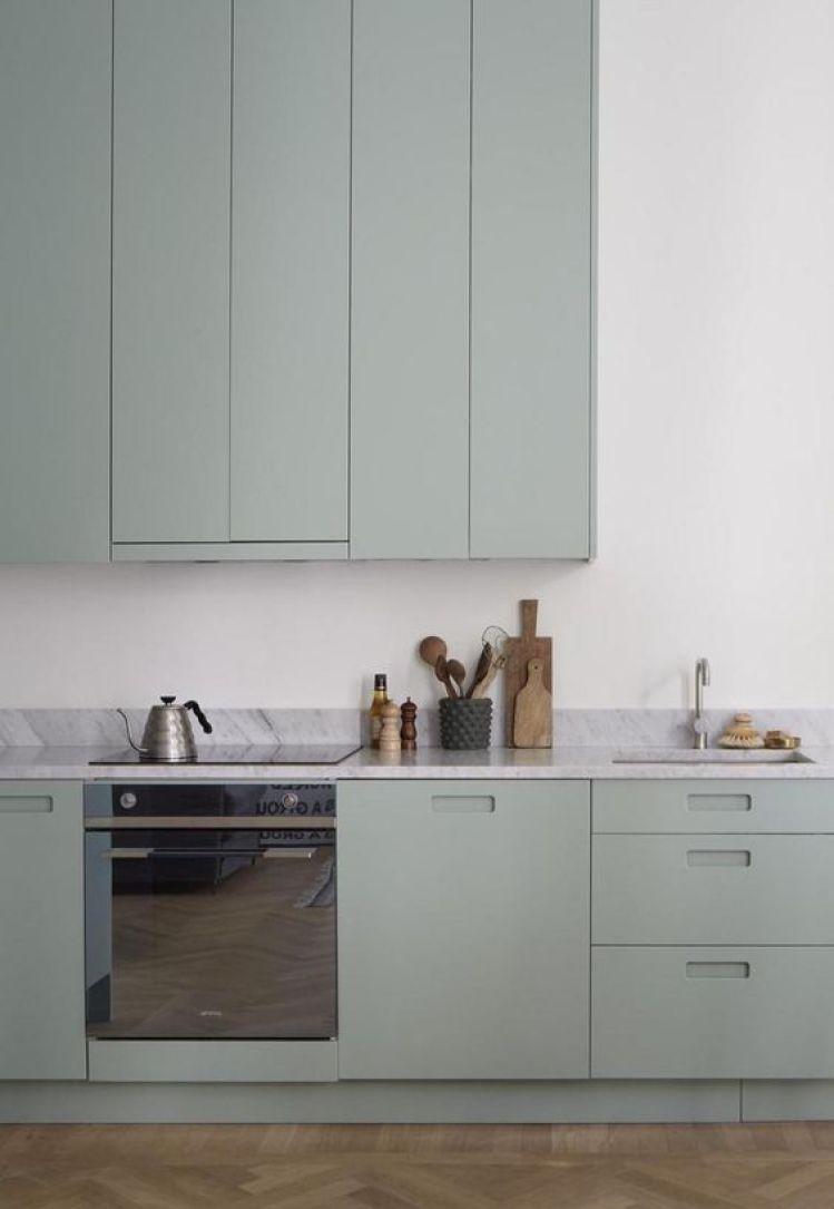 Cocina de estilo nórdico minimalista de color mint