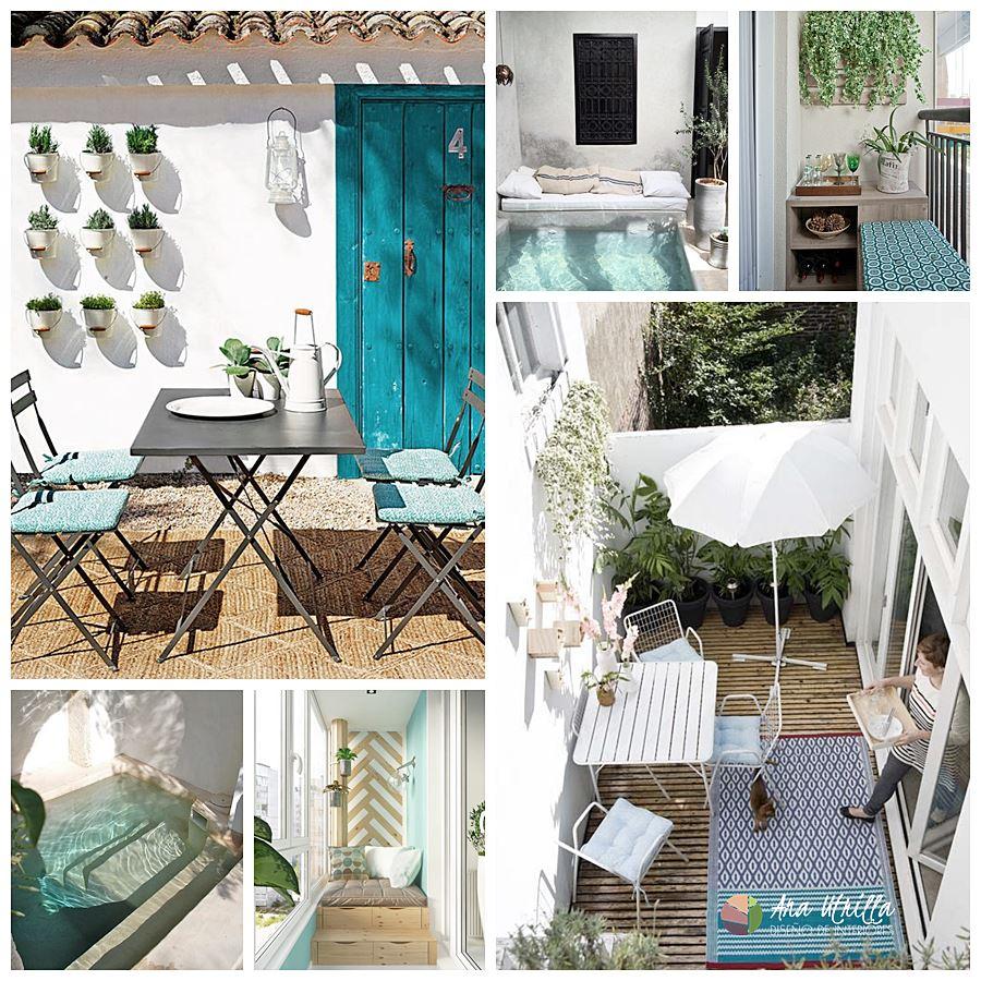 Terrazas de estilo mediterráneo en tonos marrón tostados y azules
