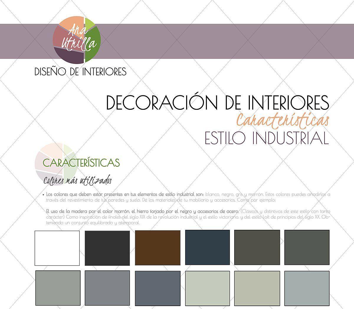 Paleta de colores que se utilizan en el estilo industrial para decoración de interiores