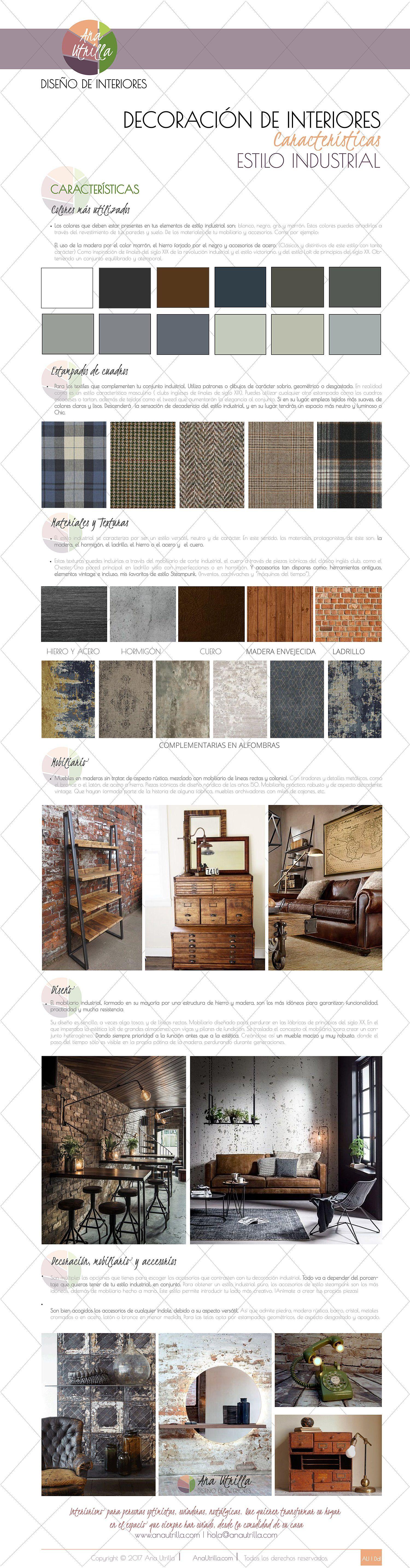 Infografía características del estilo industrial en decoración de interiores