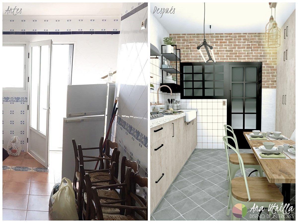 Antes y después del diseño de cocina en Ciudad Real de estilo Industrial Retro por Ana Utrilla