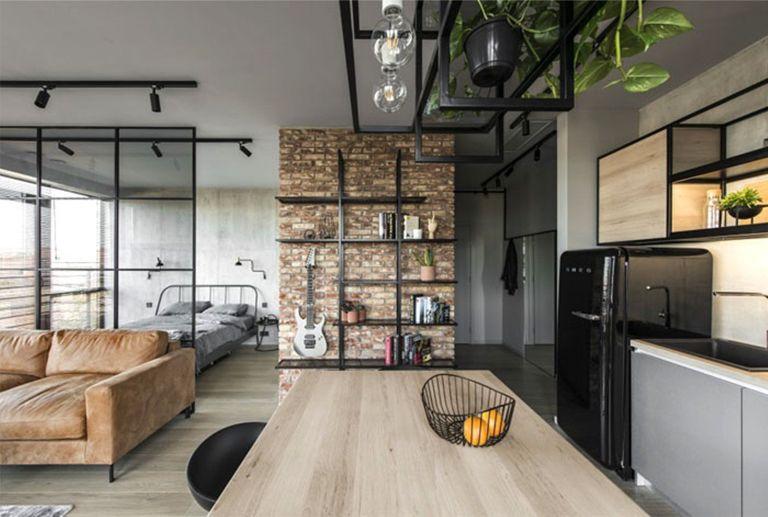 Diseño interiores de apartamento de estilo industrial masculino