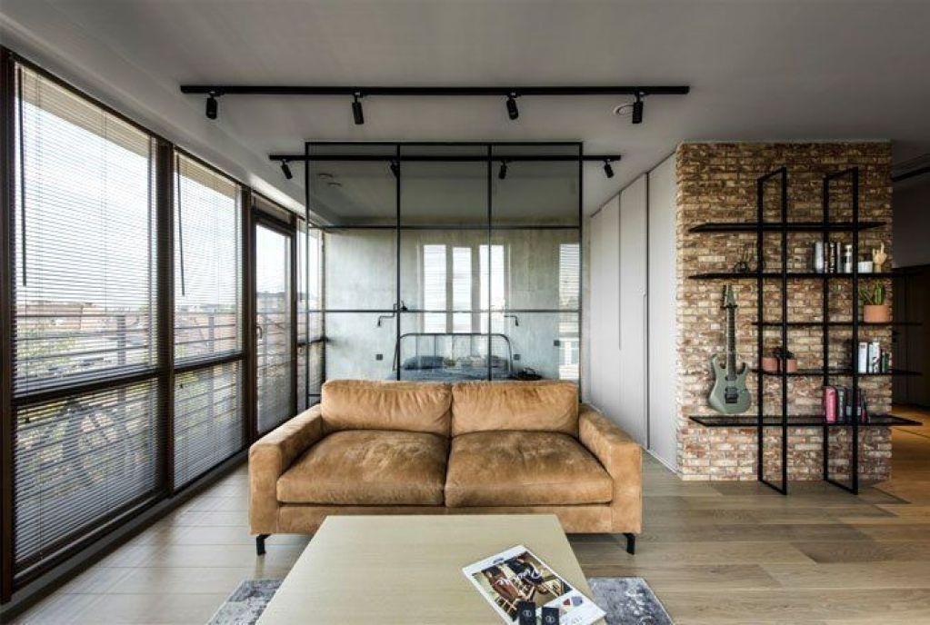 Diseño de interiores para apartamento de estilo industrial masculino