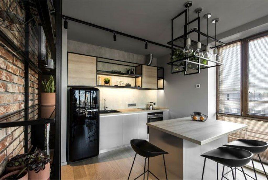 Diseño de interiores para cocina a medida de estilo industrial para apartamento de 46 m2