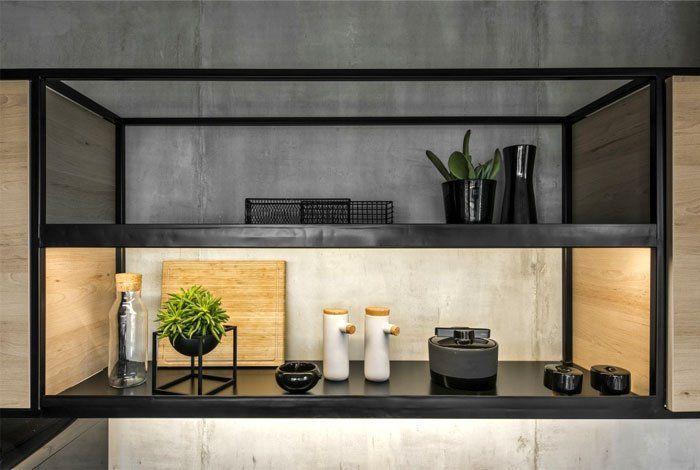 Diseño de interiores y de mobiliario a medida para apartamento de 46 m2 de estilo industrial