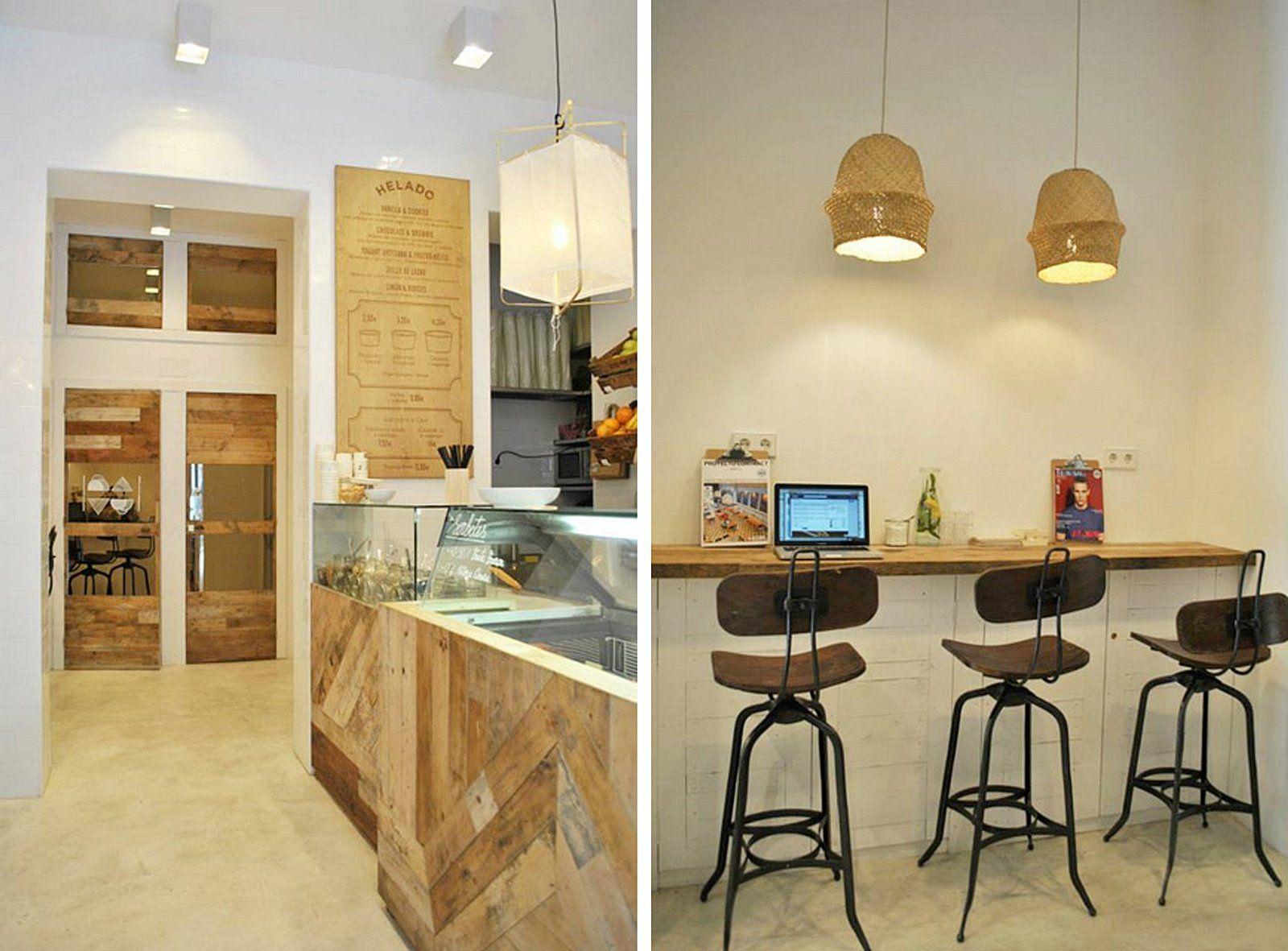 Diseño de interiores y decoración de local comercial en Madrid, Heladería Mistura de estilo noretnic