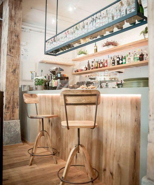 Barra e interior del resto bar Le Cocó de estilo nórdico vintage y shabby chic
