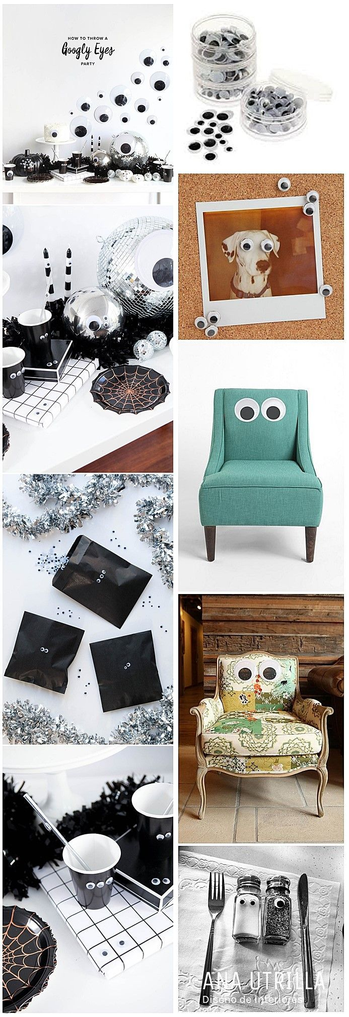 Googly eyes on furniture partty halloween. Decoración para halloween con divertidos y cómicos ojos @Utrillanais