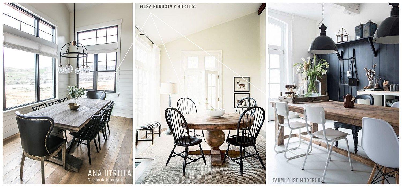 Mesas robustas, rústicas y de madera natural para vestir tu comedor de estilo farmhouse moderno @utrillanais