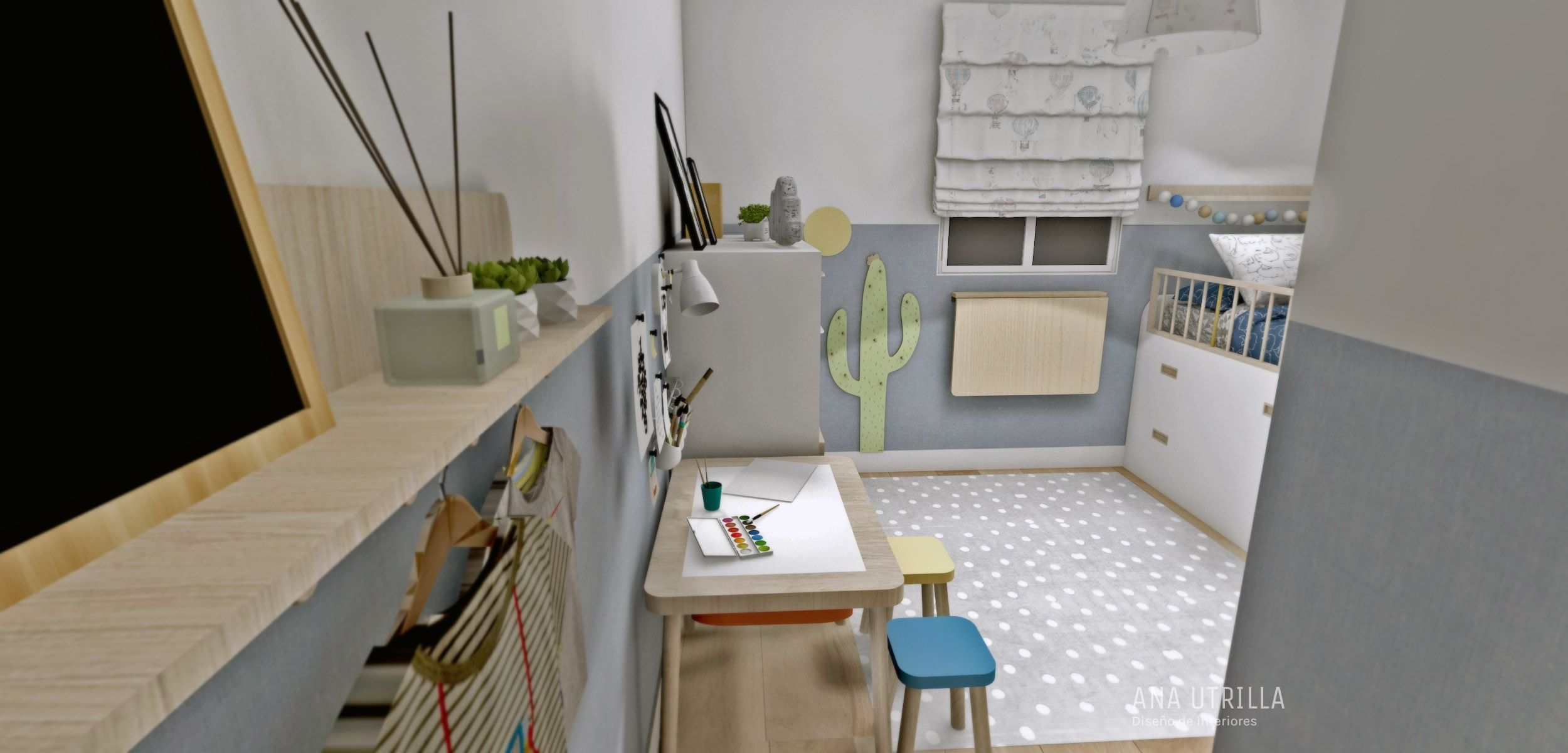Proyecto decoración de interiores de habitación infantil en Madrid de estilo Nórdico +clásico por @Utrillanais