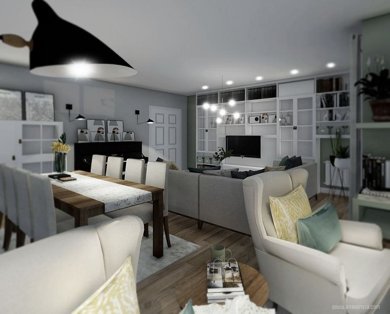 Salón comedor en tonos neutros y acentos en amarillo y verde. De estilo nórdico mediterráneo, contemporáneo. Proyecto de diseño e interiorismo en 3D a medida @utrillanais