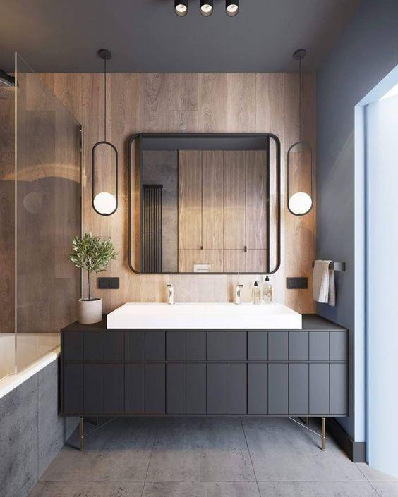 Diseño de baño en paralelo en madera de estilo Art Decó Moderno y masculino @Utrillanais