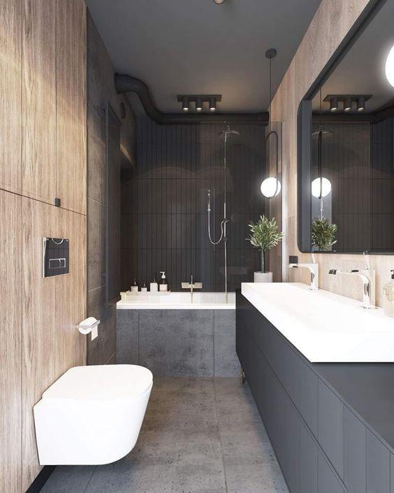 Cómo diseñar tu baño, de estilo masculino y Art Decó Moderno en madera y tonos oscuros @Utrillanais