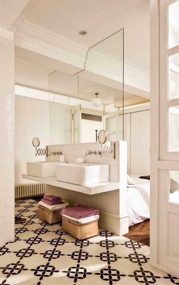 Baño en suite de estilo rústico mediterráneo @Utrillanais