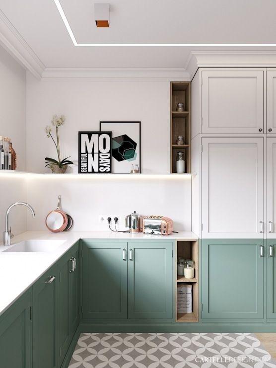 Cocina moderna en dos colores de estilo shaker escandinavo